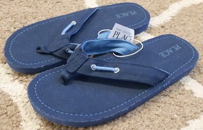 0c069d9032f Boys Youth Size 5-6 The Childrens Place Blue Flip Flops Sandals Nautical New