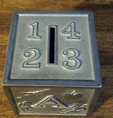 Vintage Silver Plated  Baby Block ABCD Piggy Bank