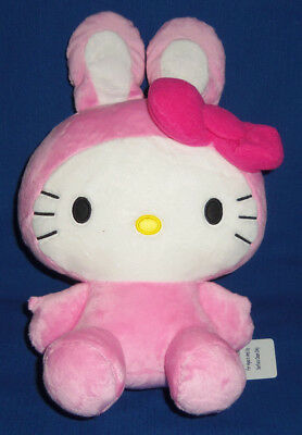 """Hello Kitty Plush 14"""" Pink Bow Tie Bunny Ear - NEW WITH TAGS Round 1 Exclusive"""