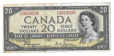 1954 Canadian 20 Dollar Bill (Fine) Devil's Face