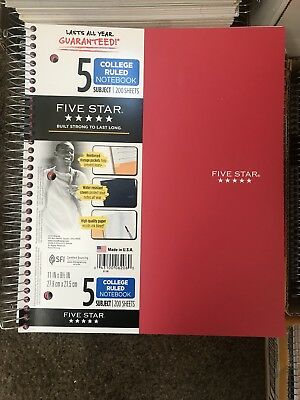 Five Star Notebook 5 Subject 200 sheets