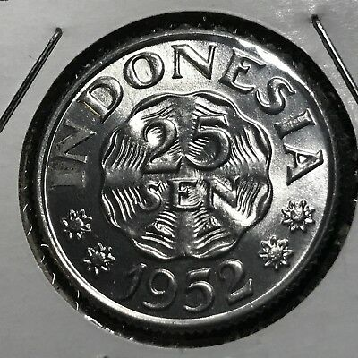 1952 Indonesia 25 Sen Brilliant Uncirculated Aluminum Coin