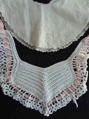 @look! Lot Of 2 Vintage 1940's Child Or Doll 1 Linen 1 Crochet Baby Bib