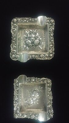 Sterling Silver Late 1800s German Embossed Detailed Floral Ashtrays (2)