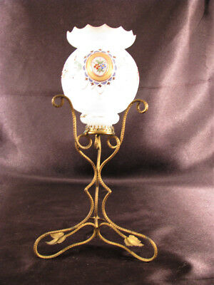 Antique Palais Royal Dore Ormolu Opaline Glass Enameled Candle Holder Epergne