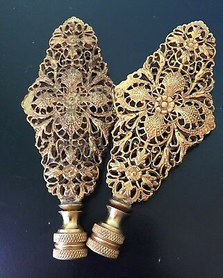 """vintage lamp finials pair set of two tall gold filigree brass pierced 4-3/4"""""""