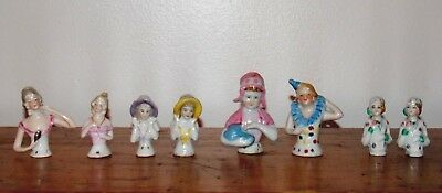 (8) Antique Victorian Porcelain Half Doll Lady Pin Cushion top Germany Japan