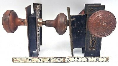 2 Sets Antique Ornate Victorian Brass Copper Door Knobs & Door Plates - Eastlake