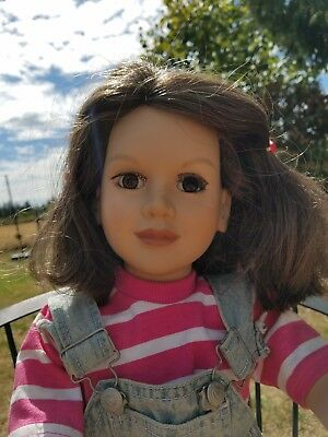 "Vtg My Twin 23"" Poseable Doll 1996 Brunette Brown Hair Eyes Overalls Outfit TLC"