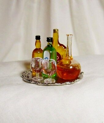 Dollhouse Stunning Liquor Tray, 3 Bottles (Reutter Porcelain) Glasses, Decanter