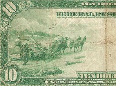 LARGE 1914 $10 DOLLAR FEDERAL RESERVE NOTE BIG CURRENCY OLD PAPER MONEY Fr 939