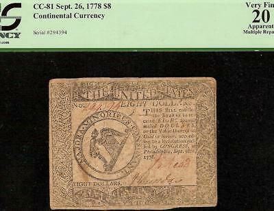 Sep 26, 1778 $8 Dollar Harp Note United States Continental Currency Cc-81 Pcgs