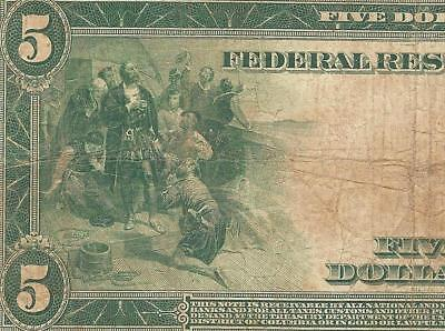 Large 1914 $5 Dollar Bill Federal Reserve Note Big Currency Old Paper Money Tear