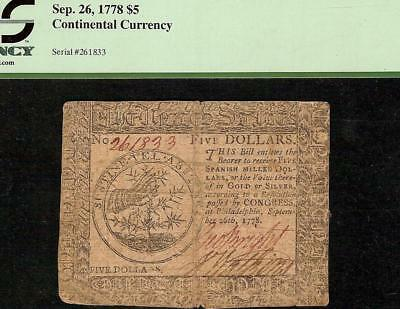 Sep 26, 1778 $5 Dollar Thorn Note United States Continental Currency Cc-79 Pcgs