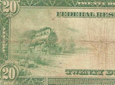 LARGE 1914 $20 DOLLAR BILL FEDERAL RESERVE NOTE BIG CURRENCY PAPER MONEY Fr 987A