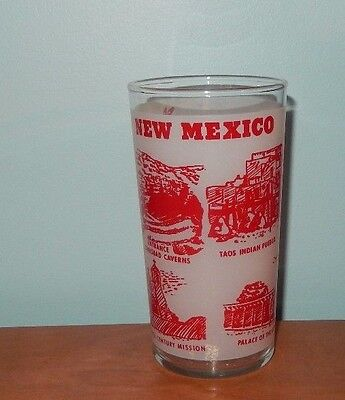 Vintage State Of New Mexico Map Glass Santa Fe