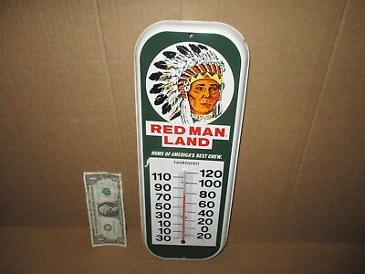 RED MAN - Indian Chief - Chewing Tobacco TEMPERATURE SIGN -Made USA -STILL WORKS