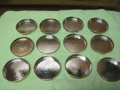 marked on bottom SUZUYO STERLING lot of 12 pieces hammered finish coasters