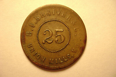 Union Mills, MD Maryland Token - B.F. Shriver & Co. - 25 Cent - Liberty Head
