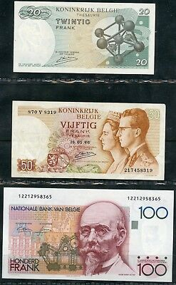 Weeda Belgium Banknote collection, high values and grades, see scans