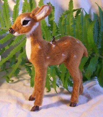 """Woodland Christmas Ornament Baby Deer Standing SPOTTED FAWN  Realistic Fur 5½"""" T"""