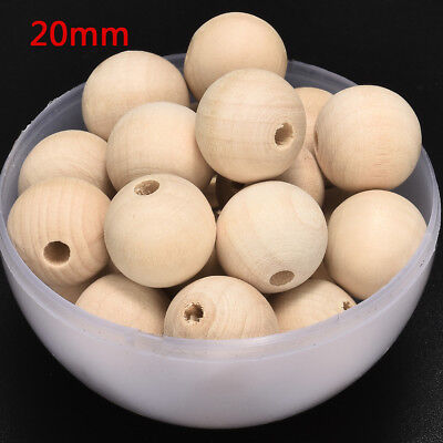 Round Wood Spacer Bead Natural Unpainted Wooden Ball Beads DIY Craft 6mm-20mm