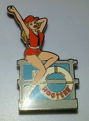 Hooters Girl on Boat Ship Deck with Life Jacket & Preserver Enamel Pin