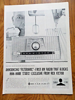 1959 RCA Victor Radio Ad 1st Major AM Radio Advance 25 years Filteramic Static