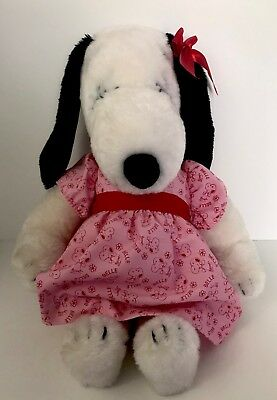 """1968 Plush Snoopy's Sister Belle in her Pink Dress 15"""" Plush Stuffed Animal Toy"""