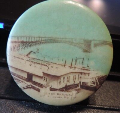 Vintage Celluloid Tape Measure Eads Bridge St. Louis Missouri MO & City Hall