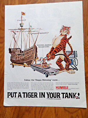 1966 Humble Oil Gas Ad  Put a Tiger in Your Tank