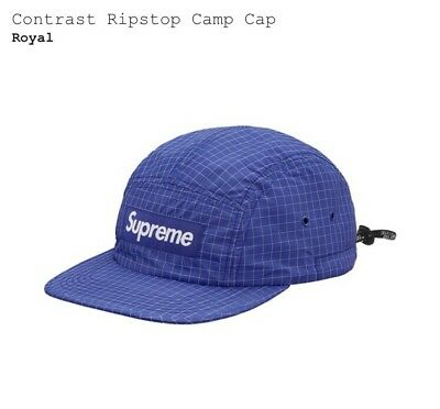 ebe021f2c16 SUPREME CONTRAST RIPSTOP Box Logo Camp Cap Hat Royal Blue Kermit ...