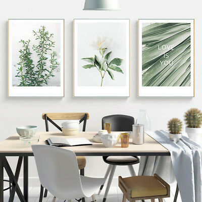 Green Plant Leaf Canvas Poster Nordic Style Wall Art Print Decoration Picture