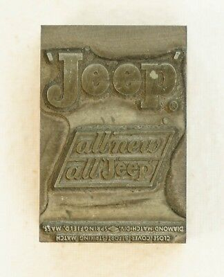 NM RARE Vintage Jeep Matchbook Cover Print Block - Marked B 35