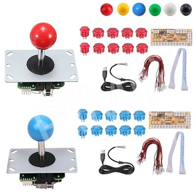 2 Player DIY Arcade Joystick Kit 5Pin Cable 24/30mm Buttons USB Encoder US Stock