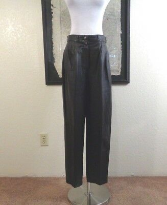 80s PIA RUCCI SOFT BLACK LEATHER TROUSER ZIP STYLE NARROW ANKLE PANTS 12P
