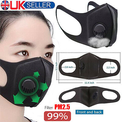 PM2.5 Air Dust Mask Respirator Anti Pollution Face Masks Washable & Reusable UK