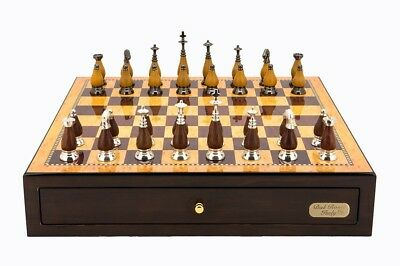 "Dal Rossi Italy Walnut Finish Chess Box with Compartments 18"" with Staunton Meta"