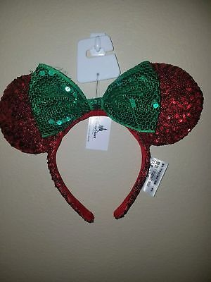 NEW Disney Parks 2017 Minnie Mouse Ear and Bow Christmas Holiday Sequin Headband