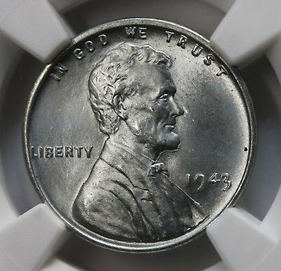 1943 US Lincoln Cent Steel Cent NGC MS66 BU Stunning Coin KM# 132a