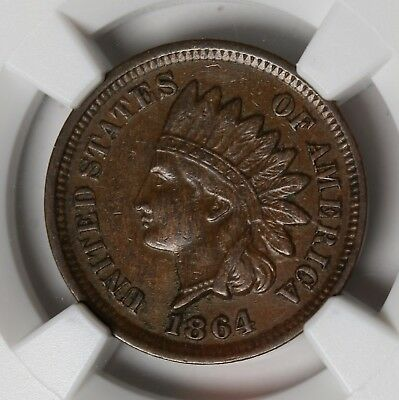 1864 US Bronze Cent Indian Head Cent Penny NGC AU55 BN KM# 90a