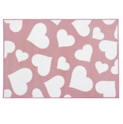 Brand new in bag Kit for kids nursery rug in Pink with white hearts 100x150 cm