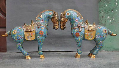 China old Bronze Cloisonne Enamel Palace Animal Tang Horse lucky Statue
