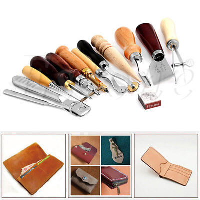 13pcs Leather Craft Tools Kit Cutting knife Awl Trimming Edge Detector