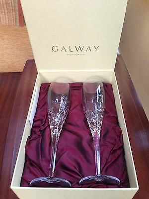 Galway Crystal Champagne Flutes x 2