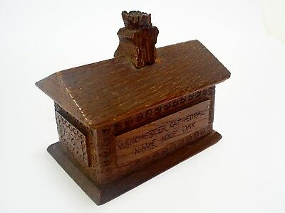 1896 Antique Winchester Cathedral Nave Roof Oak Carved/treen Trinket Box Signed