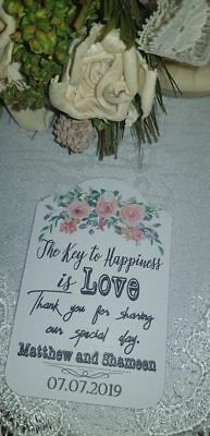 Personalised Wedding Tags birthday Xmas  Key to Happiness is Love