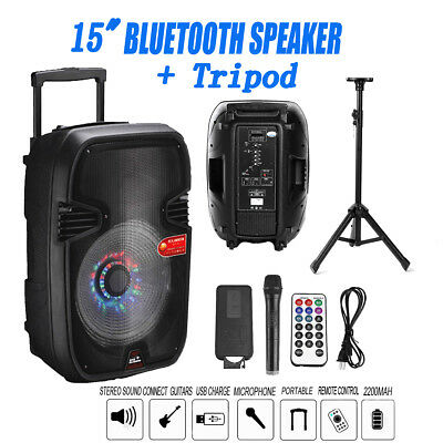15'' Portable KARAOKE PARTY PA DJ SPEAKER SYSTEM Bluetooth/USB/Mic &Tripod Stand