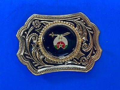 WESTERN Gold tone Belt Buckle w/39mm SHRINER - MASONS  centerpiece emblem logo