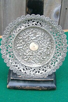 Antique Indian Asian Kutch Solid Silver Coaster /dish 55 Grams